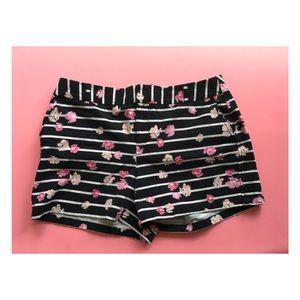 Black & White Striped Floral Shorts